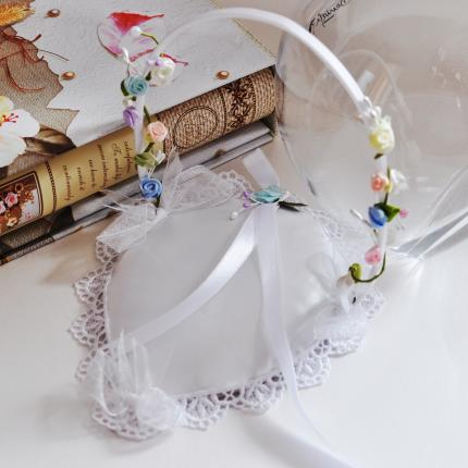 Wedding Ring  Basket decorated with flowers