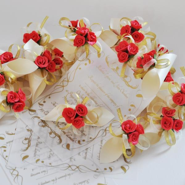 original idea for wedding invitation papyrus with red rose and golden net - Papyrus Wedding Invitations