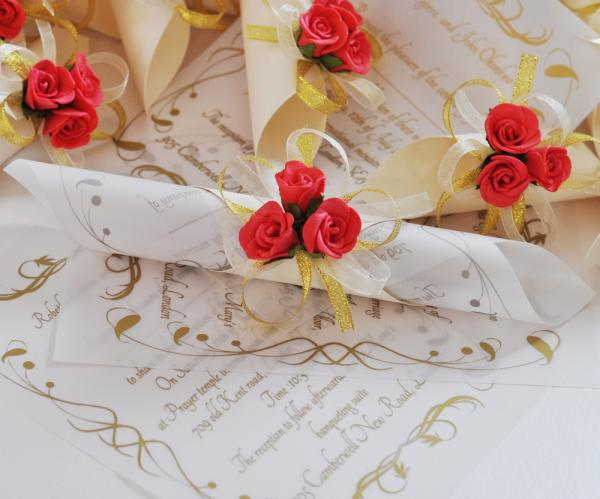 original idea for wedding invitation- papyrus with red rose and, Wedding invitations