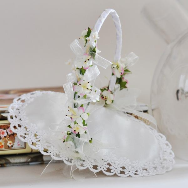 Wedding rings basket with Gentle flowers decoration Model KX003