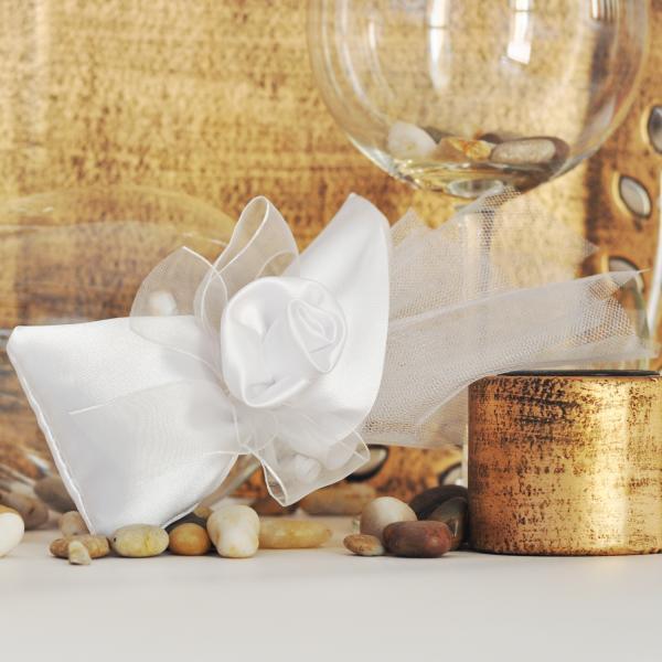 A pure white satin pouch