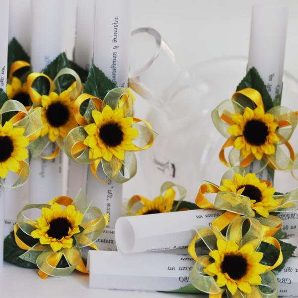 Scroll invitation with sunfowers
