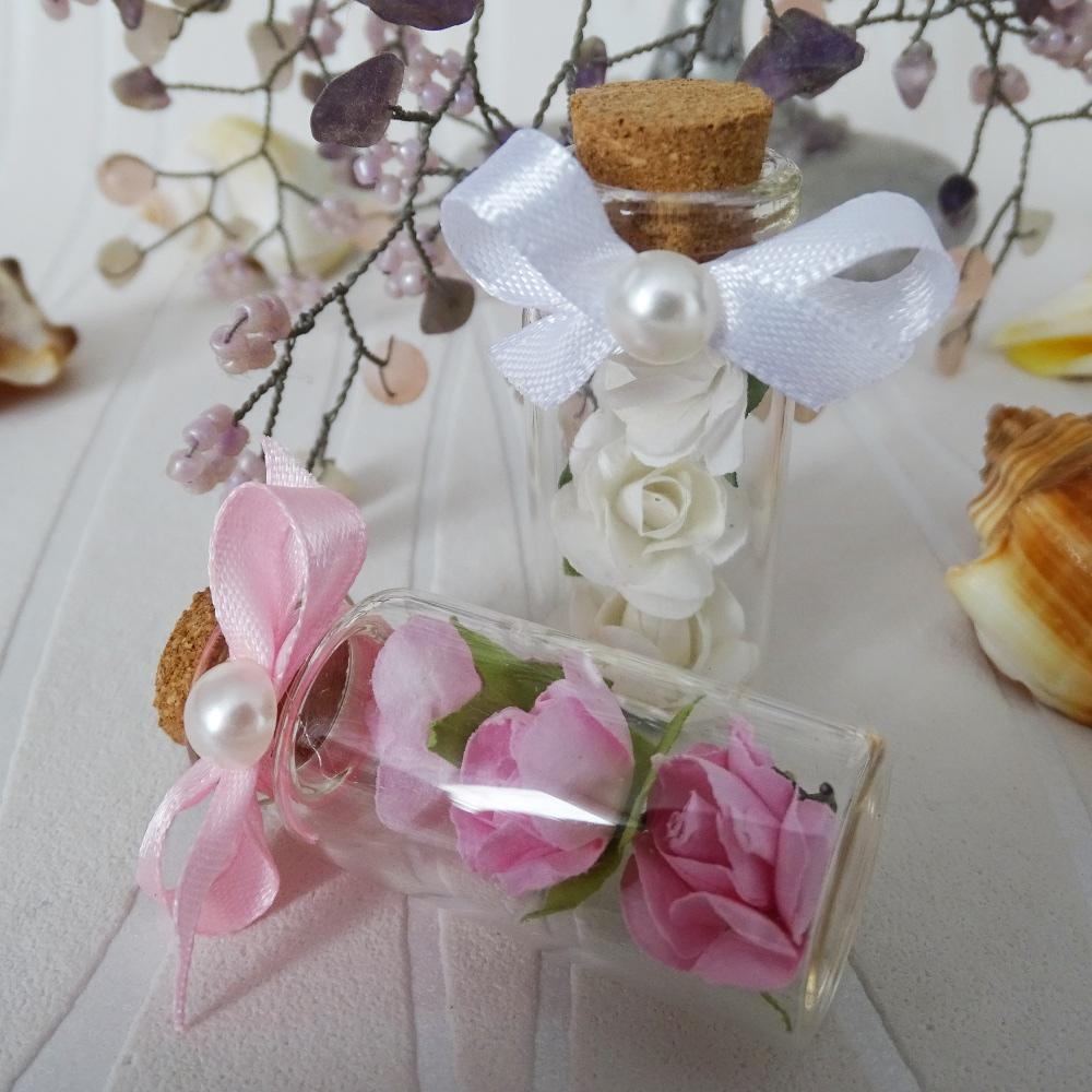 Petite bottles with delicate roses