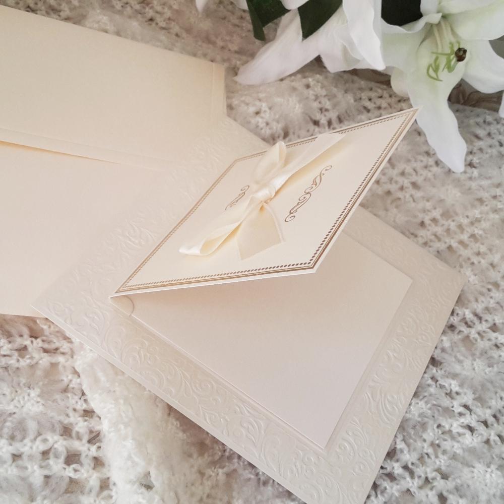 Stylish wedding invitation in ecru color
