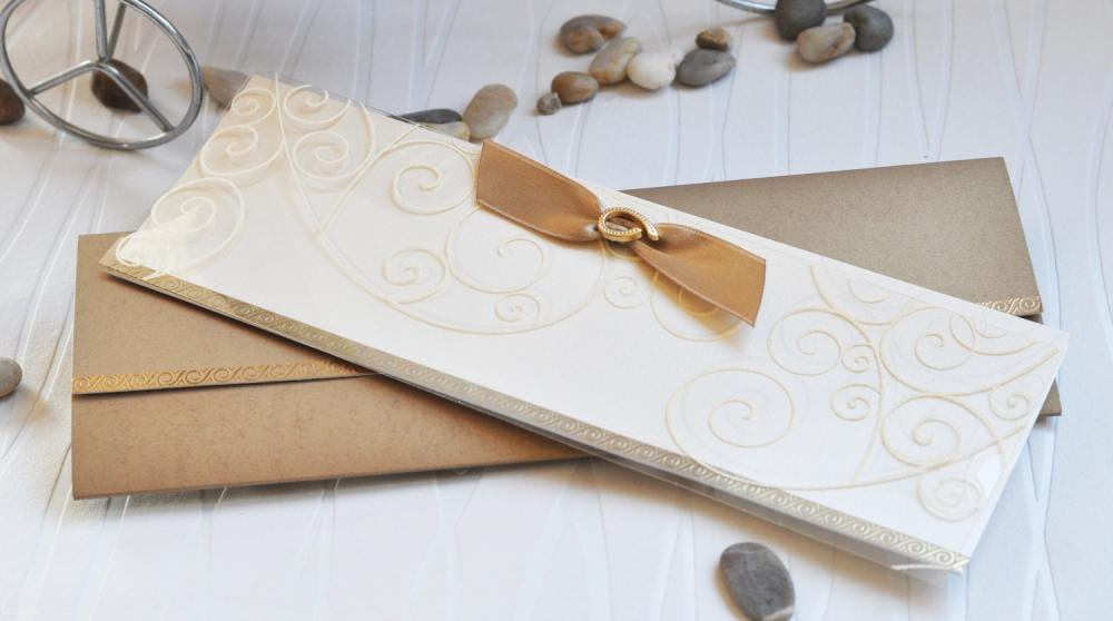 Ravishing wedding invitation in rich caramel shade