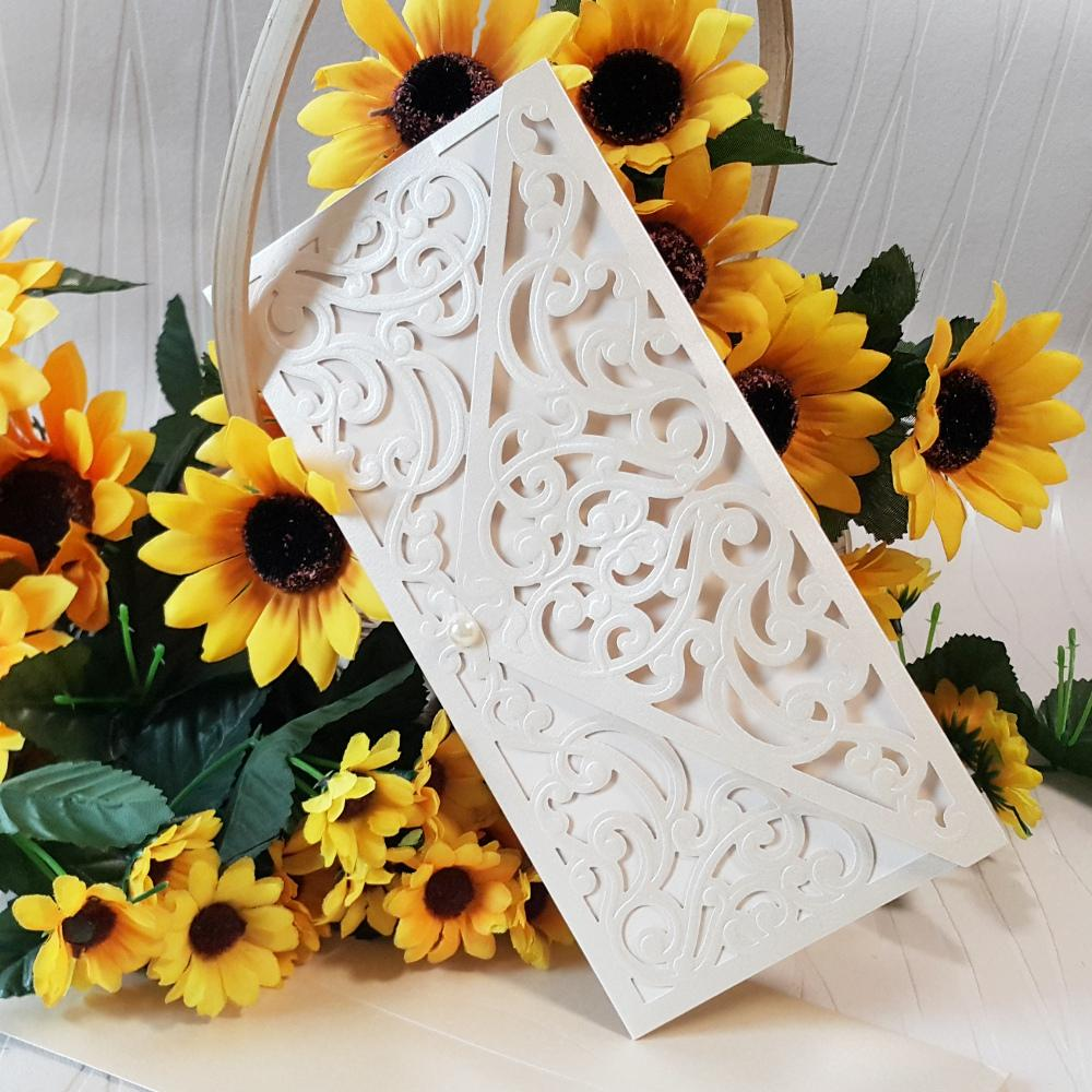 Luxury wedding invitations in ecru color