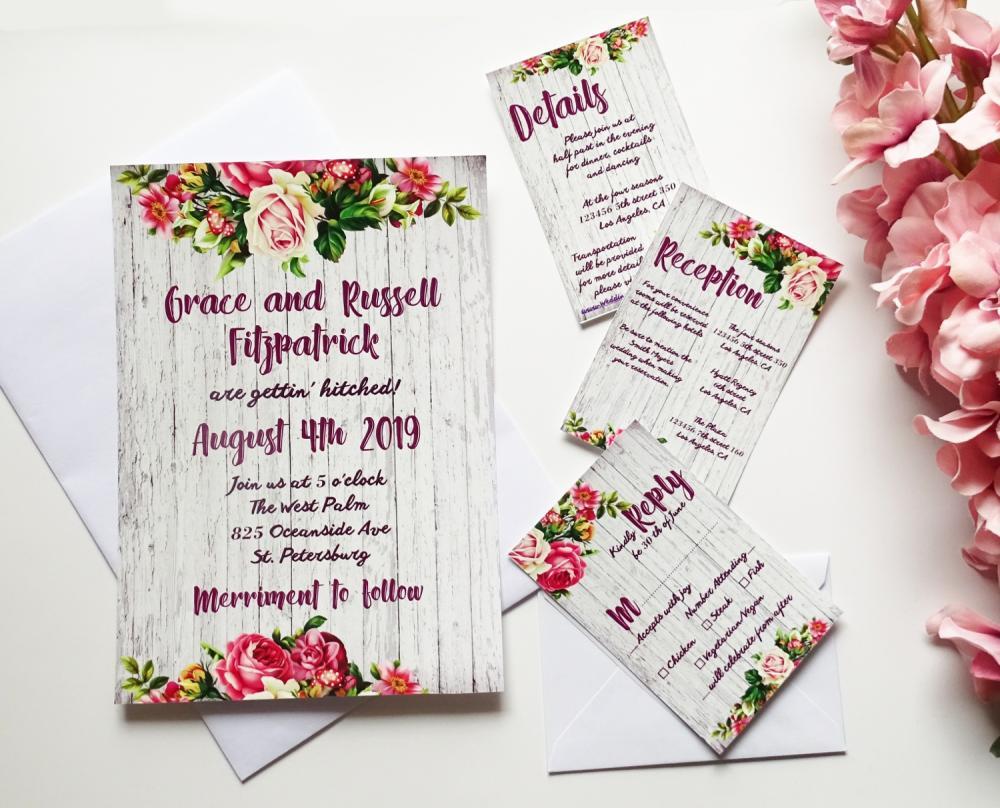 Rustic Wedding Invitation, Wedding Invitation Set