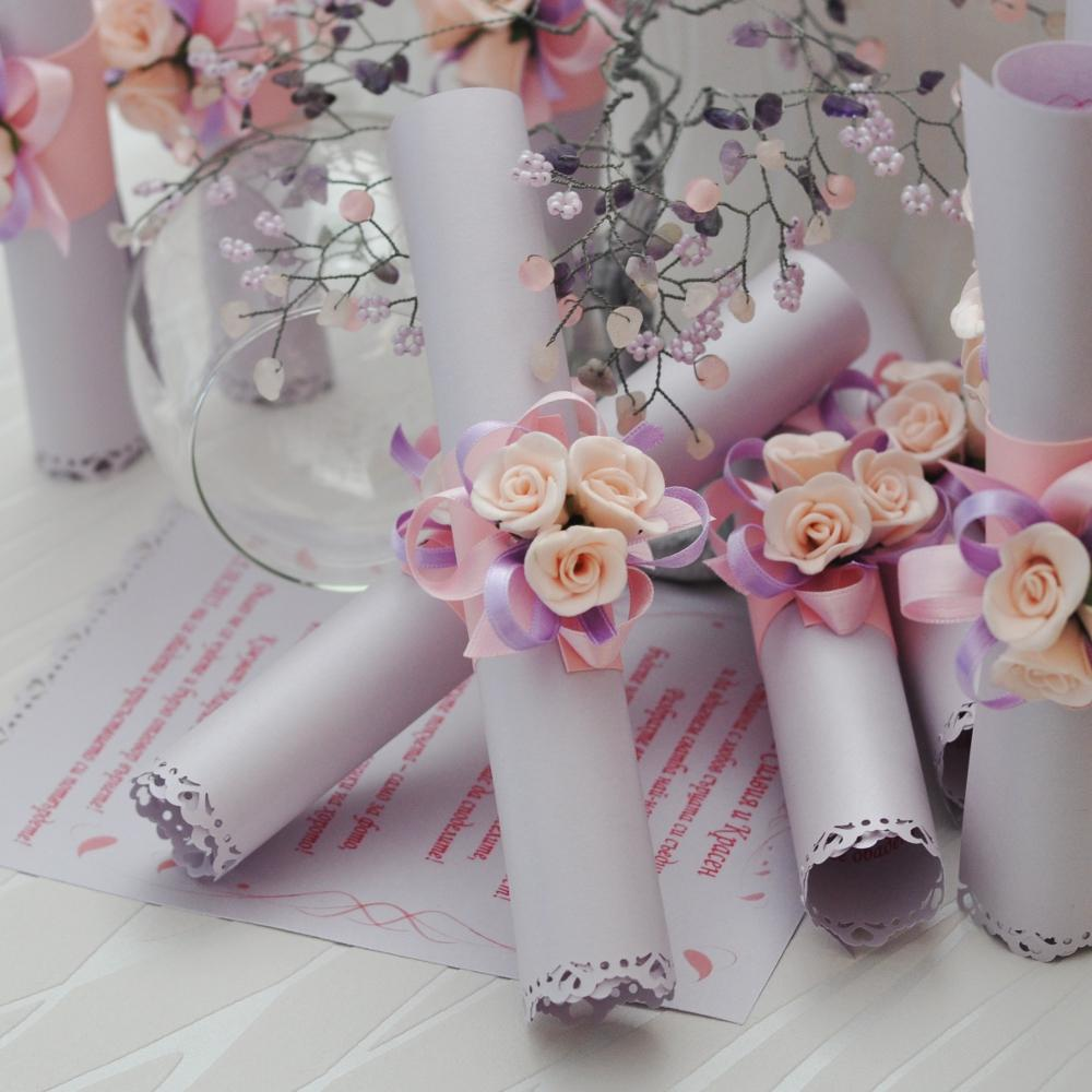 Wedding Invitation Greeting Card Roll With Purple Rose