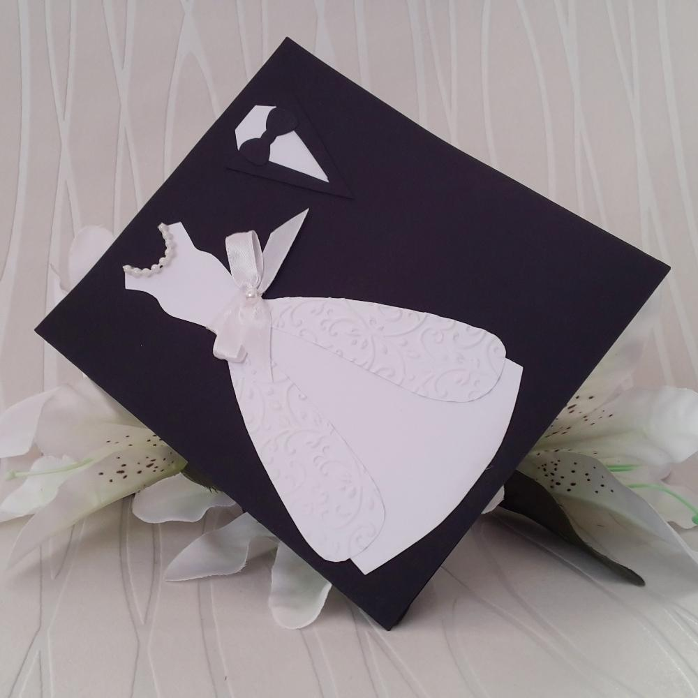 Theatrical invitation with a bridal dress and grooms tux
