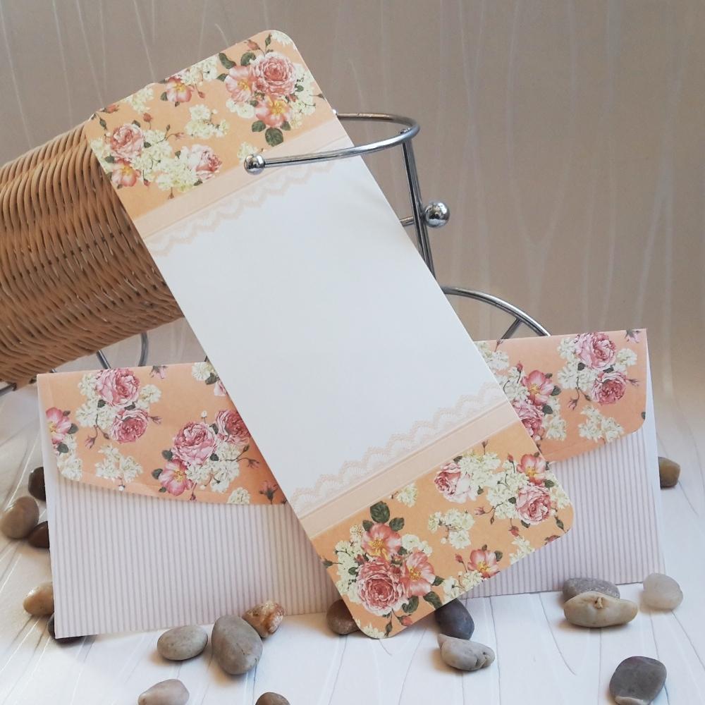 Wedding invitations in peach color