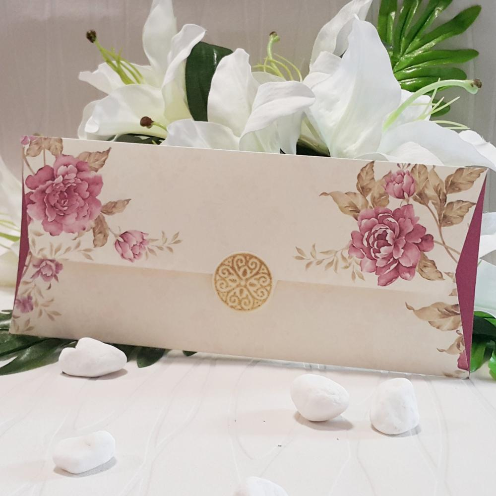 Wedding Invitations with floral print in purple 2674 | Prices and model