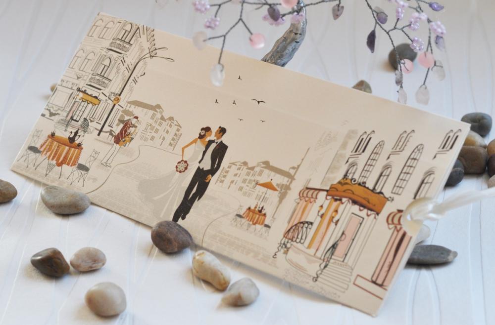 Wedding invitations with newlyweds