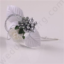 Boutonniere is silver decorated