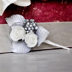 Wedding boutonniere with 2 artificial white roses