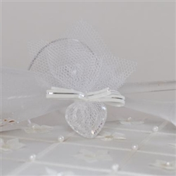 Wedding souvenir - Acrylic heart with tulle decoration