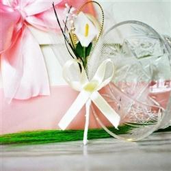 Handmade wedding boutonniere - white Kalla flower