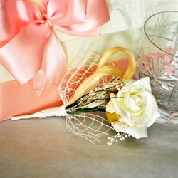 Handmade wedding boutonniere with artificial white rose