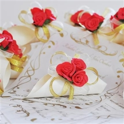 Original idea for wedding invitation- papyrus with red rose and golden net