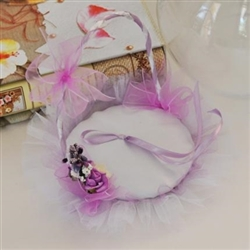 Satin wedding ring bearer basket