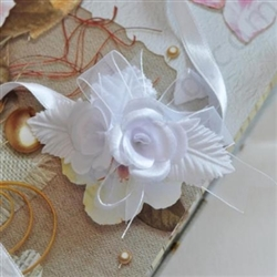 Unique handmade bridesmaid bangle decorated with white satin roses and bows