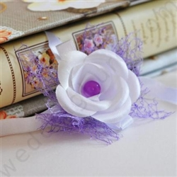 Unique handmade bridesmaid bangle decorated with white satin roses and purple pearl