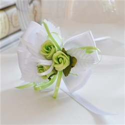 Unique handmade bridesmaid bangle with 3 green roses