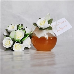 Mini honey Jar decorated with 1 white rose