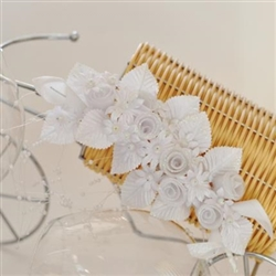 Wedding diadem with white satin roses and pearls