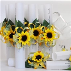 Wedding invitation with sunfowers