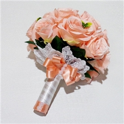 Bridal bouquet with roses in peach color