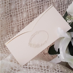 Classic invitations in white with gold trim