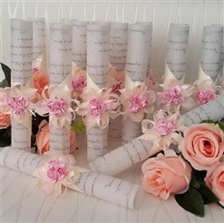 Wedding Invitations - Scroll with pink decoration