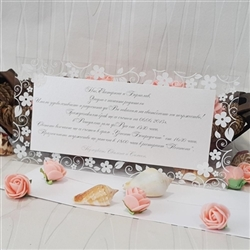 Wedding invitation with a frame of transparent foil
