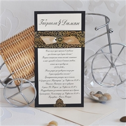 Wedding invitations in black and gold
