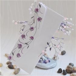 Wedding invitations with purple tulips
